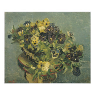 Basket of Pansies on a Small Table by Van Gogh Photographic Print