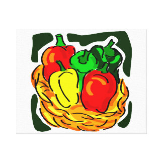 Basket of peppers diff colours graphic canvas print
