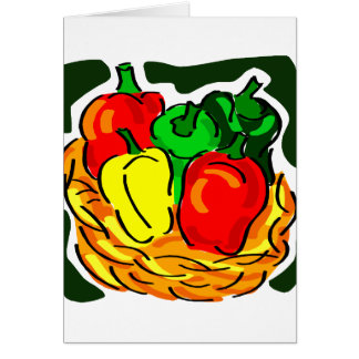 Basket of peppers diff colours graphic card