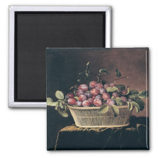 Basket of Plums 2 Inch Square Magnet