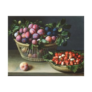 Basket of Plums and Basket of Strawberries, 1632 wrappedcanvas