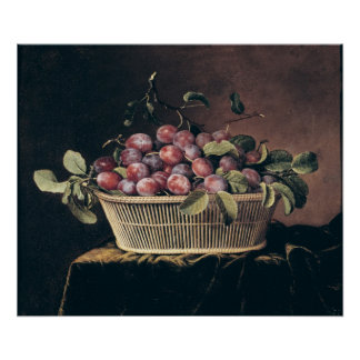 Basket of Plums Poster