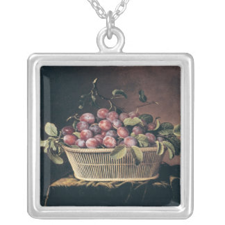 Basket of Plums Silver Plated Necklace