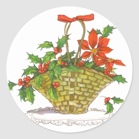 Basket of Poinsettias & Holly Classic Round Sticker