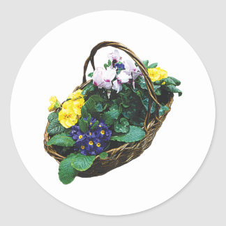 Basket of Primroses Round Stickers