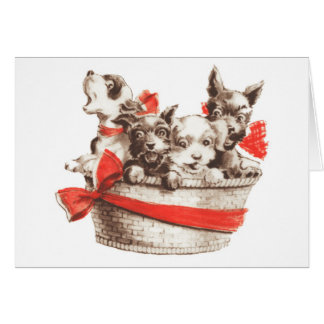 Basket of Puppies Greeting Card