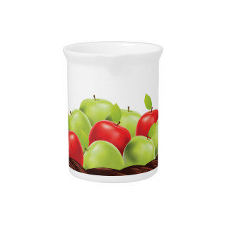 Basket of Red and Green Apples Beverage Pitcher