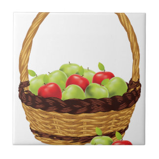 Basket of Red and Green Apples Ceramic Tile