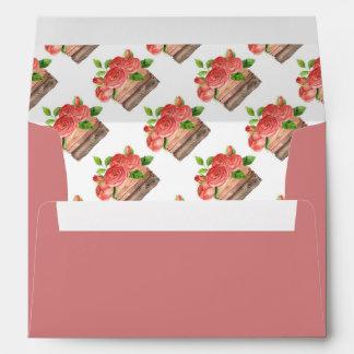 Basket of Red Roses on Red / Pink  Envelope