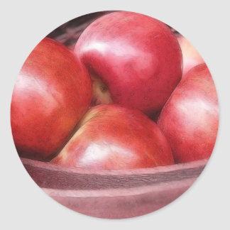 Basket Of Ripe Red Apples Classic Round Sticker