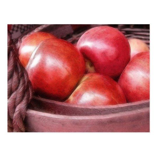 Basket Of Ripe Red Apples Postcard