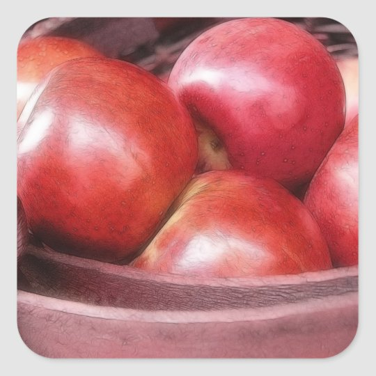 Basket Of Ripe Red Apples Square Sticker