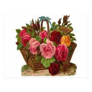 Basket of Roses Postcard