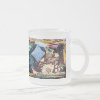 Basket of Sewing Supplies 10 Oz Frosted Glass Coffee Mug
