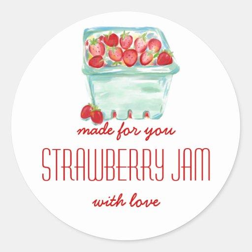 Basket of Strawberries Jam Labels Stickers
