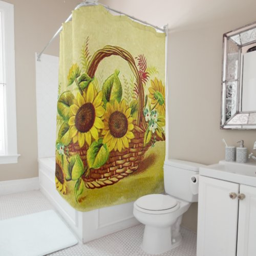 Basket of Sunshine Shower Curtain.The sunflower is named after its huge, fiery blooms, whose shape and image are often used to depict the sun. While vibrant and strong the sunflower is recognized world wide for it's beauty. Sunflower is one of the few crop species that originated in North America.
