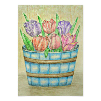 Basket of Tulips Card