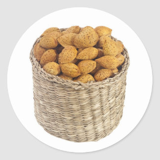 Basket of unshelled almonds classic round sticker