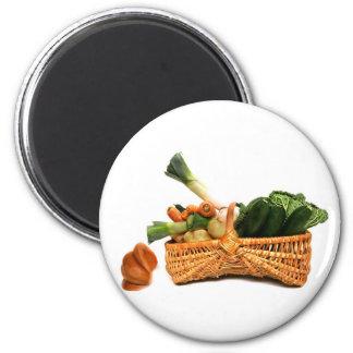 basket of vegetables 2 inch round magnet