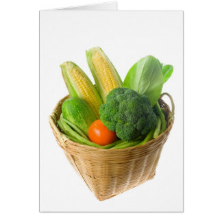 Basket of vegetables greeting cards