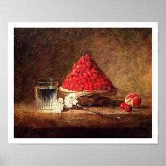 Basket of Wild Strawberries by Chardin Print