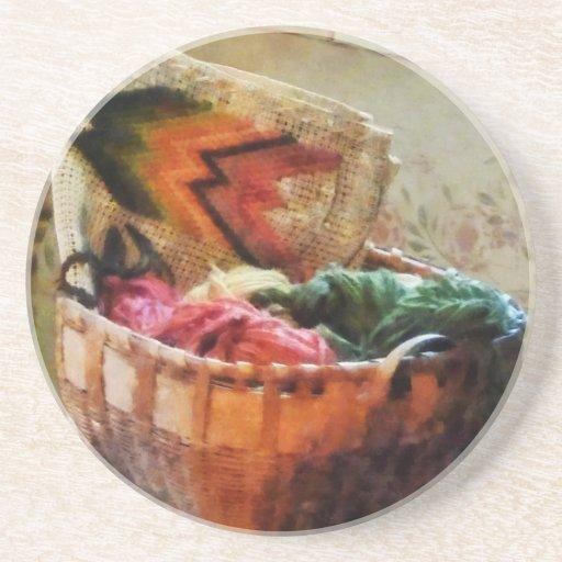 Basket of Yarn and Tapestry Beverage Coasters