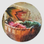Basket of Yarn and Tapestry Classic Round Sticker