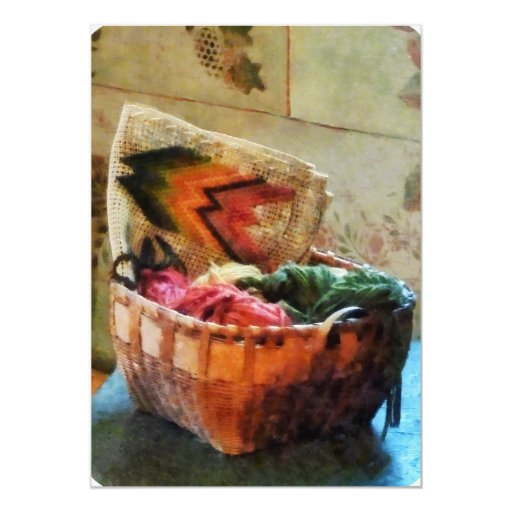 Basket of Yarn and Tapestry 5x7 Paper Invitation Card