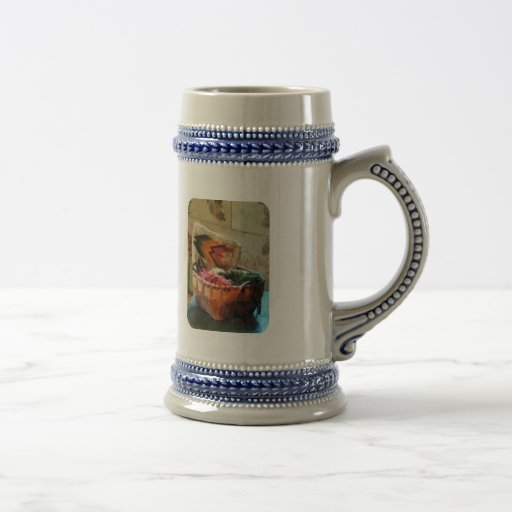 Basket of Yarn and Tapestry Mugs