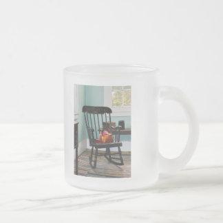 Basket of Yarn on Rocking Chair Frosted Glass Coffee Mug