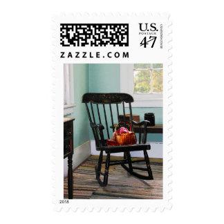 Basket of Yarn on Rocking Chair Postage Stamp