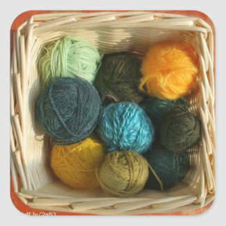 Basket of Yarn Square Stickers