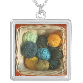 Basket of Yarn Sterling Silver Plate Necklac Silver Plated Necklace
