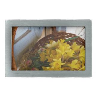 Basket of Yellow Daffodils,white antique door Belt Buckle