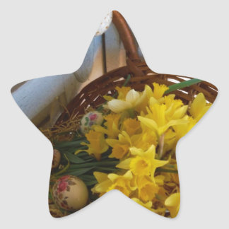 Basket of Yellow Daffodils,white antique door Star Sticker