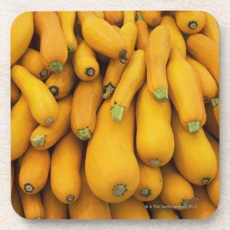 Basket of yellow zucchini drink coaster