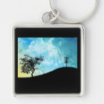 Basket On A Hill #2 Silver-Colored Square Keychain