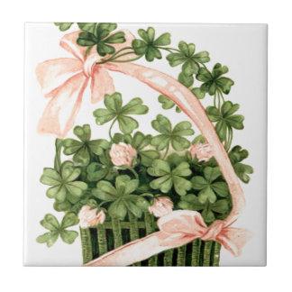 Basket Pink Ribbon Shamrock Four Leaf Clover Ceramic Tile