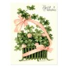 Basket Pink Ribbon Shamrock Four Leaf Clover Postcard