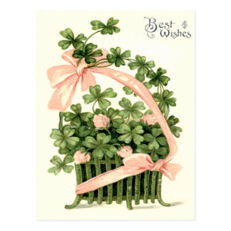 Basket Pink Ribbon Shamrock Four Leaf Clover Postcard