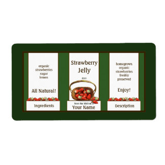Basket Strawberry Jelly Canning Jar Label Shipping Label
