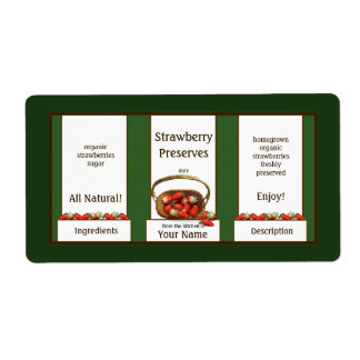 Basket Strawberry Preserves Canning Jar Label Shipping Label
