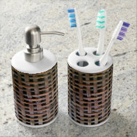 Basket Tooth Brush Holder and Soap Dispenser