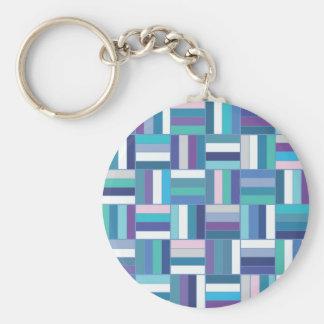 Basket Weave Blue Basic Round Button Keychain