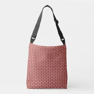 Basket Weave Orange Fish Pattern Tote