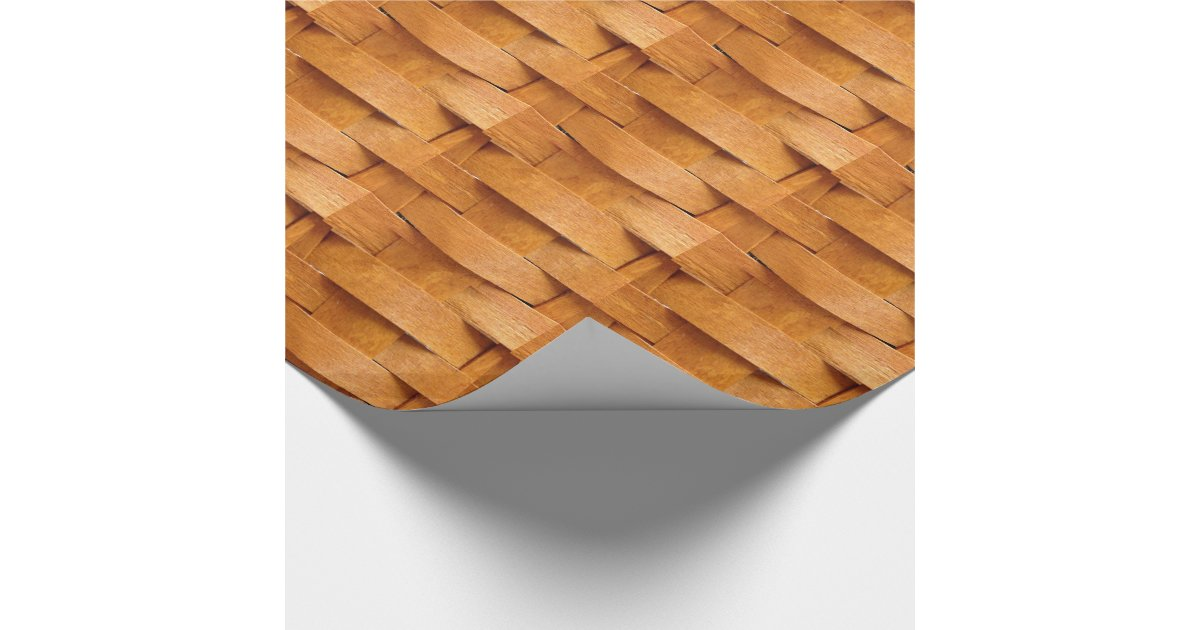 Basket weave pattern wrapping paper zazzle for Paper basket weaving template