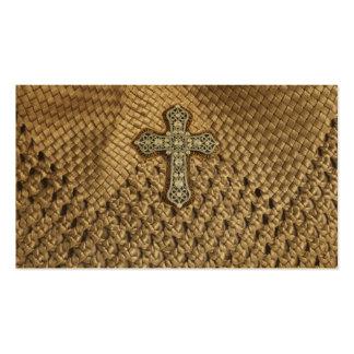 Basket Weaved Rhinestone Pearl Cross Business Card