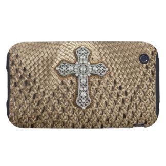Basket Weaved Rhinestone Pearl Cross IPhone3 Case iPhone 3 Tough Case