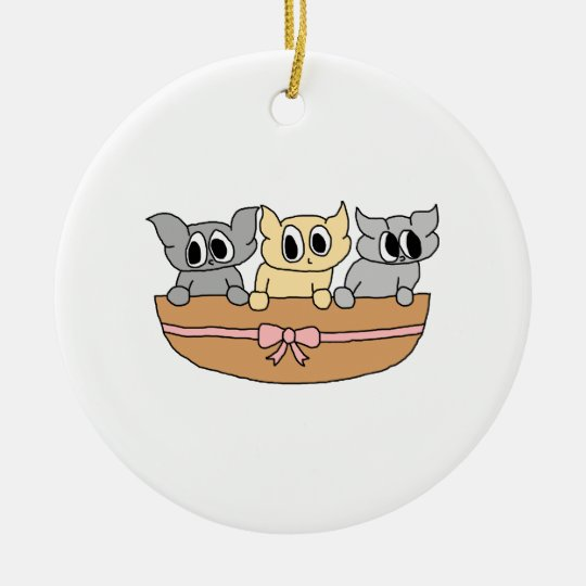 Basket with 3 Kittens, Cartoon. Ceramic Ornament