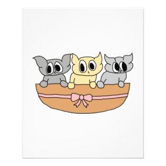 Basket with 3 Kittens, Cartoon. Flyer